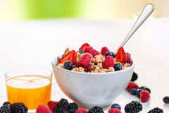 Muesli bowl with fresh orange juice. Stock Image