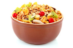 Muesli in bowl isolated Royalty Free Stock Photo