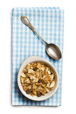 Muesli in bowl and silver spoon Royalty Free Stock Photos