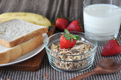 Muesli and Bread for Breakfast Stock Photography