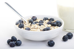 Muesli Breakfast. Breakfast of muesli with fresh blueberries Royalty Free Stock Images
