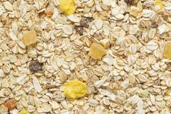 Muesli breakfast background. Organic crunchy homemade cereal with oats and berries. The concept of Healthy eating. stock photos