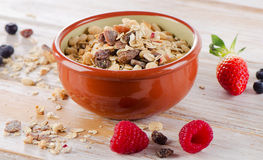 Muesli for breakfast with  berries Royalty Free Stock Images