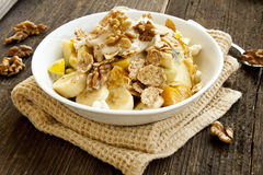 Muesli breakfast with fruits,yogurt and nuts Stock Photo