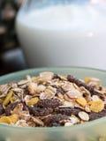 Muesli Breakfast Indicates Cereal Natural And Milk Stock Photo
