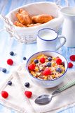 Muesli breakfast menu with forest fruits Stock Photos
