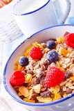 Muesli breakfast menu with forest fruits Royalty Free Stock Photography
