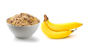 Muesli breakfast placed and banana Stock Images