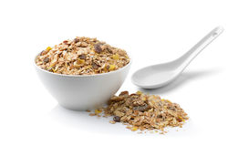Muesli breakfast placed on white background Royalty Free Stock Images