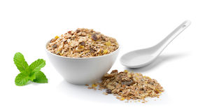 Muesli breakfast placed on white background Stock Photography