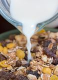 Muesli Breakfast Shows Natural Wholegrain And Morning Stock Photo