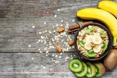 Muesli caseiro do café da manhã saudável com aveia, frutos e porcas Fotografia de Stock