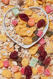 Muesli cereal flakes with dried fruit Stock Images