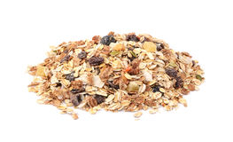 Muesli - cereal flakes with seeds, mixed fruit and nuts royalty free stock image