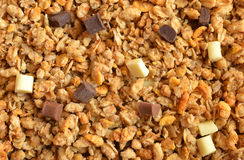 Muesli cereal with pieces of chocolate close up. Stock Photo