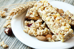 Muesli Cereals Bars. Healthy Granola Breakfast Stock Photos
