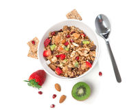 Muesli cereals bowl and spoon Royalty Free Stock Photography