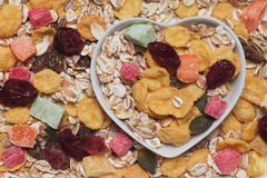 Muesli cereals with dried fruit Royalty Free Stock Photo