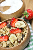 Muesli cereals, yoghurt and fresh strawberries Royalty Free Stock Images
