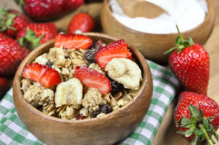 Muesli cereals, yoghurt and fresh strawberries Stock Image