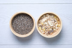 Muesli and chai seed stock images