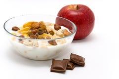 Muesli with chocolate and apple Stock Photo