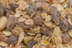 Muesli close up. Muesli background close up lightened by flash Royalty Free Stock Photo