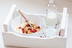 Muesli con el plátano y las bayas para el desayuno Fotos de archivo libres de regalías