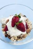 Muesli con las fresas y el yogur Fotos de archivo