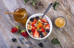 Muesli con las frutas frescas Fotografía de archivo