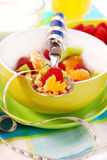 Muesli con las frutas frescas como alimento de la dieta imágenes de archivo libres de regalías