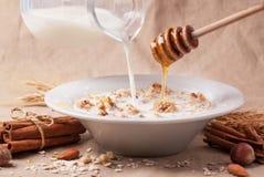 Muesli con latte e miele Fotografia Stock