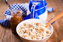 Muesli with confiture Royalty Free Stock Images