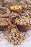 Muesli, copos de maíz y trigo fotos de archivo