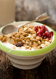 Muesli in the cup closeup Royalty Free Stock Image