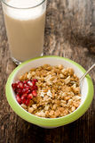 Muesli in the cup closeup Stock Photography