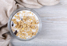 Muesli in a cup filled in with yogurt. Muesli in a cup filled in with the yogurt, healthy food Royalty Free Stock Photo