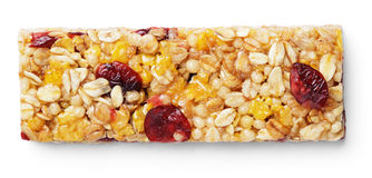 Muesli da barra de Granola ou barra do cereal isolada no branco Imagem de Stock Royalty Free