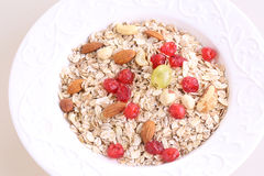 Muesli with dried cranberries, nuts and grapes Royalty Free Stock Photography