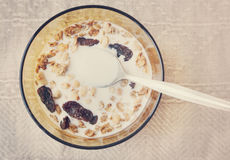 Muesli with dried fruit in a bowl with milk Stock Photography