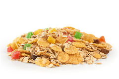 Muesli with dried fruit and candied fruit on a white background. Stock Photography