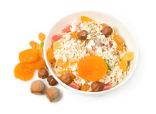 Muesli with dried fruit and nuts Royalty Free Stock Image