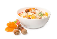 Muesli with dried fruit and nuts Royalty Free Stock Photos