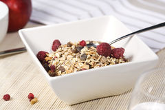 Muesli with dried fruit in square bowl Stock Photo