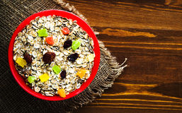 Muesli with  dried fruit strawberries, grapes, kiwi, peach. m Stock Photography