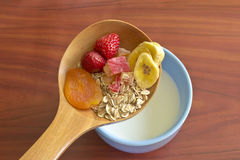 Muesli with dried fruits and fresh strawberries Stock Image