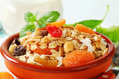 Muesli with dried fruits, nuts and coconut Stock Photos