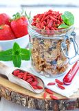 Muesli with dried goji berries and mint on a wooden backgraund Royalty Free Stock Images