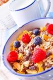 Muesli-Frühstücksmenü mit Waldfrüchten Lizenzfreie Stockfotografie