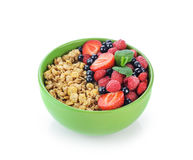 Muesli with fresh berries in a bowl Royalty Free Stock Photos